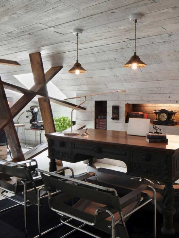 industrial styled room with lounge area and office space