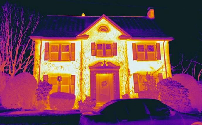 A view of a house through thermal imaging