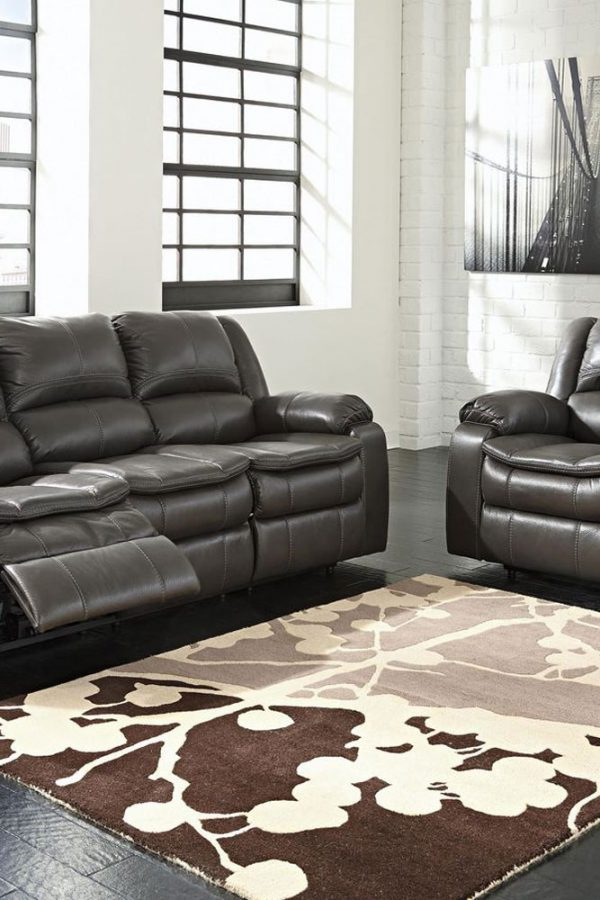 Dark Leather Modern Reclining Sofa
