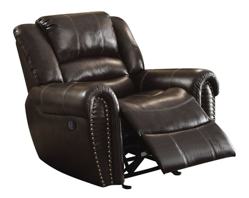 Homelegance 9668BRW glider leather recliner chair
