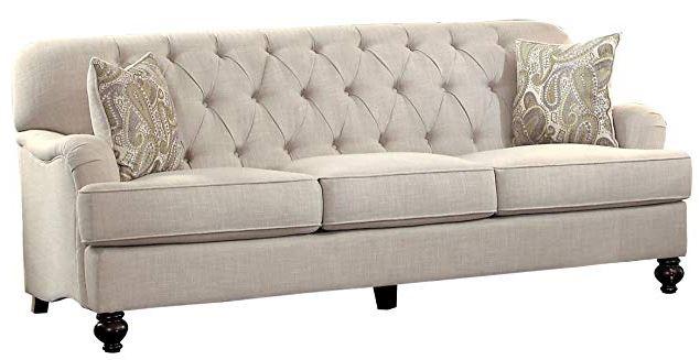 Home Elegance White Linen Sofa