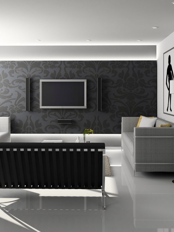 Modern blacxk and white room with white resin floor