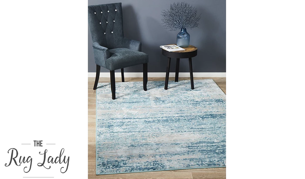 a blue area rug