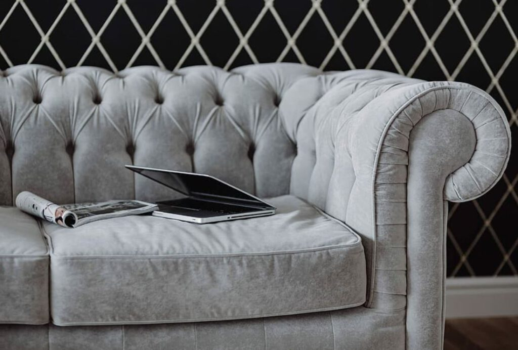 Stylish grey velvet chair, couch, seating